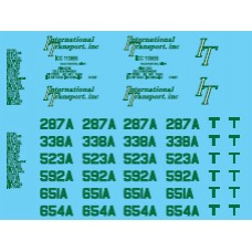 12026 - Decal Set - International Transport (Green), Owner-Operator Truck Tractors & Lessor Flatbed Trailers